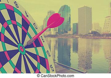 都市, ターゲット, ダート盤, さっと動きなさい, 矢, background.business, ぼんやりさせられた, 赤