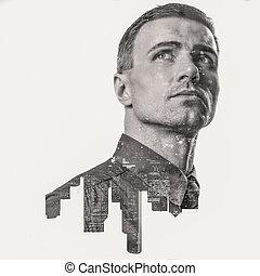 都市, ダブル, の上, 見る, 専門家, 肖像画, ビジネスマン, さらされること