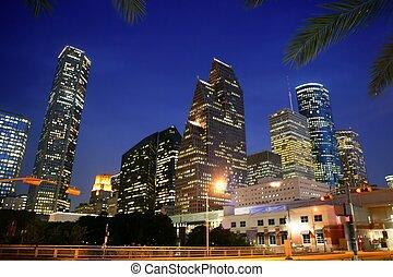 都市, ダラス, ダウンタウンに, bulidings, 都市, 光景