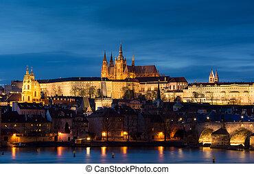 都市, チェコ, イメージ, プラハ, プラハ, パノラマである,  republi, 資本