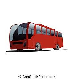 都市, デザイン, イラスト, バス