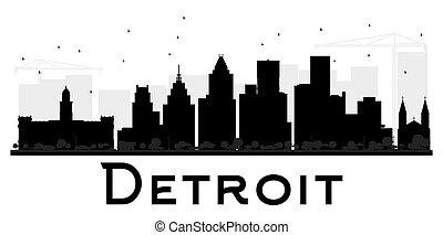 都市, デトロイト, silhouette., スカイライン, 黒, 白