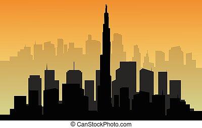 都市, ドバイ, シルエット, 大きい