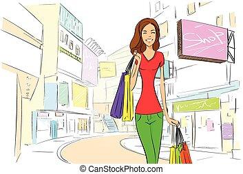 都市, ドロー, 女性買い物, スケッチ, 通り