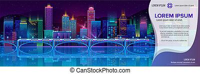 都市, ネオンライト, ベクトル, 夜, 旗