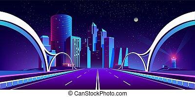 都市, ネオンライト, ベクトル, 背景, 夜