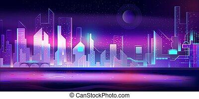都市, ネオン, lights., 夜, 都市の景観, 未来派