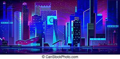 都市, ネオン, lights., 建築, 夜, 未来派
