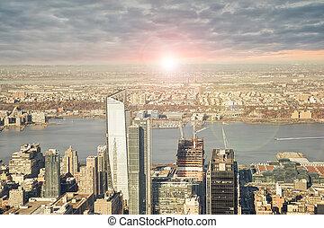 都市, バックグラウンド。, ヨーク, 新しい, スカイライン, 日の出