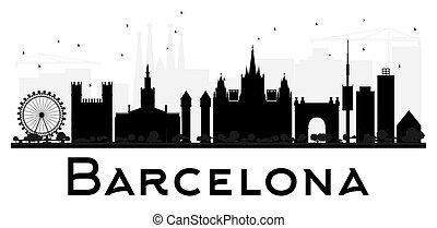 都市, バルセロナ, silhouette., スカイライン, 黒, 白
