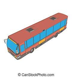 都市, バン, バス, 隔離された, イラスト, ベクトル, ロンドン, 赤, 車, 輸送