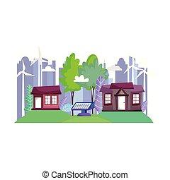 都市, パネル, タービン, 太陽, 町, 家, エコロジー, 風