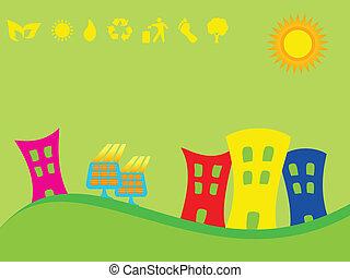 都市, パネル, 緑, 太陽
