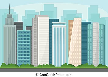 都市, パノラマ, 建物, 現代, イラスト, ベクトル, 超高層ビル, 都市の景観, 都市, 風景