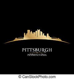 都市, ピッツバーグ, イラスト, silhouette., ペンシルバニア, スカイライン, ベクトル
