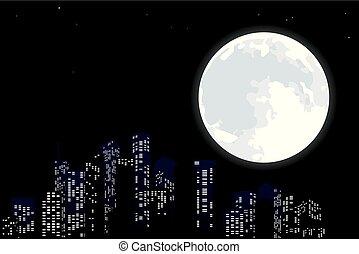 都市, フルである, 大きい, moon., スカイライン, 夜