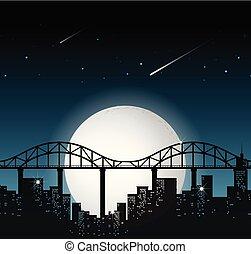 都市, フルである, 現場, 夜, 月