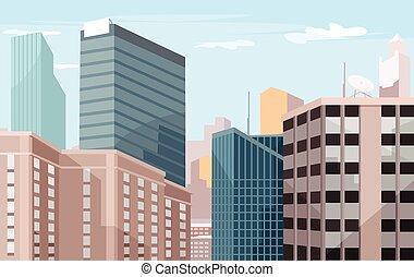 都市, ベクトル, イラスト, 平ら
