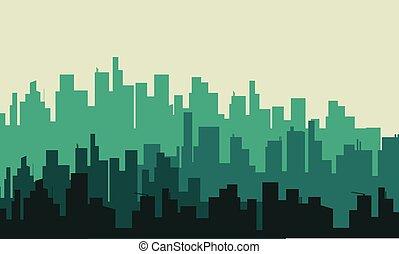 都市, ベクトル, シルエット, 大きい