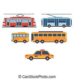 都市, ベクトル, セット, transport.