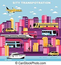 都市, ベクトル, 交通機関, イラスト