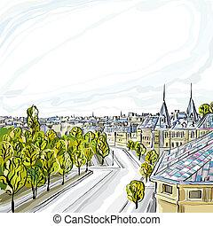 都市, ベクトル, 古い, illustration.