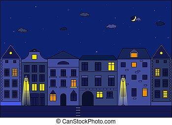 都市, ベクトル, 夜, 通り, illustration., ヨーロッパ, 古い, city.