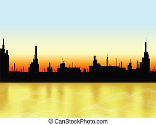 都市, ベクトル, 日没, sea.