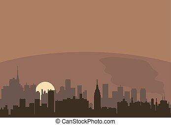 都市, ベクトル, 汚染, 風景, 都市