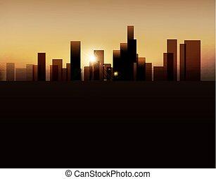 都市, ベクトル, 背景, 夜