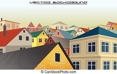 都市, ベクトル, 背景, roofs.