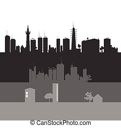 都市, ベクトル, 芸術, イラスト