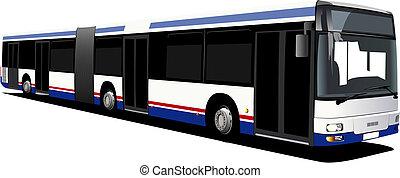 都市, ベクトル, bus., イラスト
