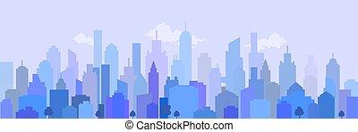 都市, ベクトル, illustration., 風景, blue.