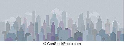 都市, ベクトル, illustration., overprint, 景色。