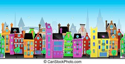 都市, ベクトル, seamless, ヨーロッパ, パターン