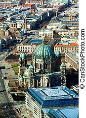 都市, ベルリン, 光景, ドイツ, aeria