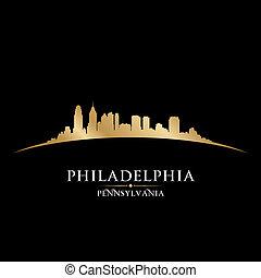 都市, ペンシルバニア, フィラデルフィア, イラスト, silhouette., スカイライン, ベクトル
