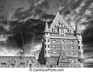 都市, ホテル frontenac, すばらしい, ケベック, 城, canada., 光景