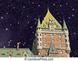 都市, ホテル frontenac, すばらしい, ケベック, 壮大, 城, canada., castle., 光景