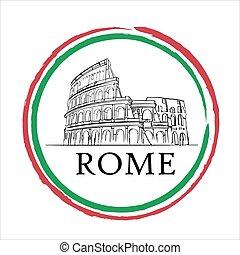 都市, ポスター, 国旗, ローマ, ロゴ, イタリア語