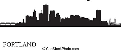 都市, ポートランド, シルエット, スカイライン, 背景