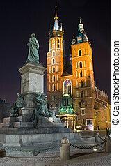 都市, ポーランド, 広場, krakow, 夜