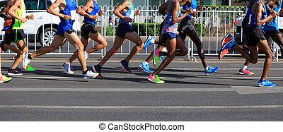 都市, マラソン, 動くこと, 道, 足, ランナー