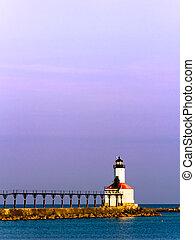 都市, ミシガン州, 灯台, 朝