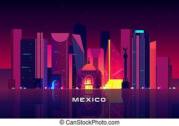 都市, メキシコ\, ネオン, 照明, 夜, 都市の景観, スカイライン