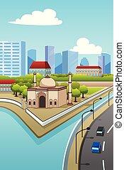 都市, モスク, イラスト
