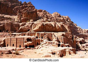 都市, ヨルダン, petra, 岩