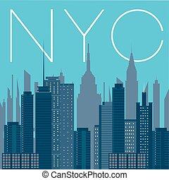 都市, ヨーク, パノラマ, 新しい, nyc-
