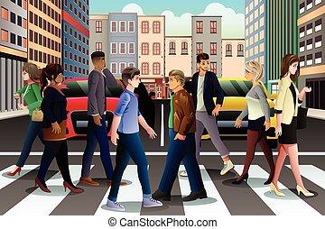 都市, ラッシュアワー, 人々, 通り, 交差, の間
